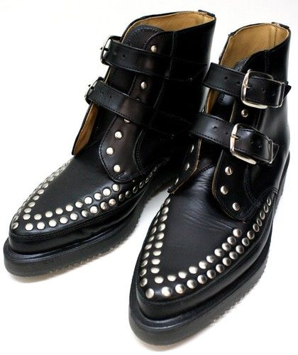 0c1cd58c1a7e George Cox Yohji Yamamoto Ladies Black Point Studded Leather Boots ...