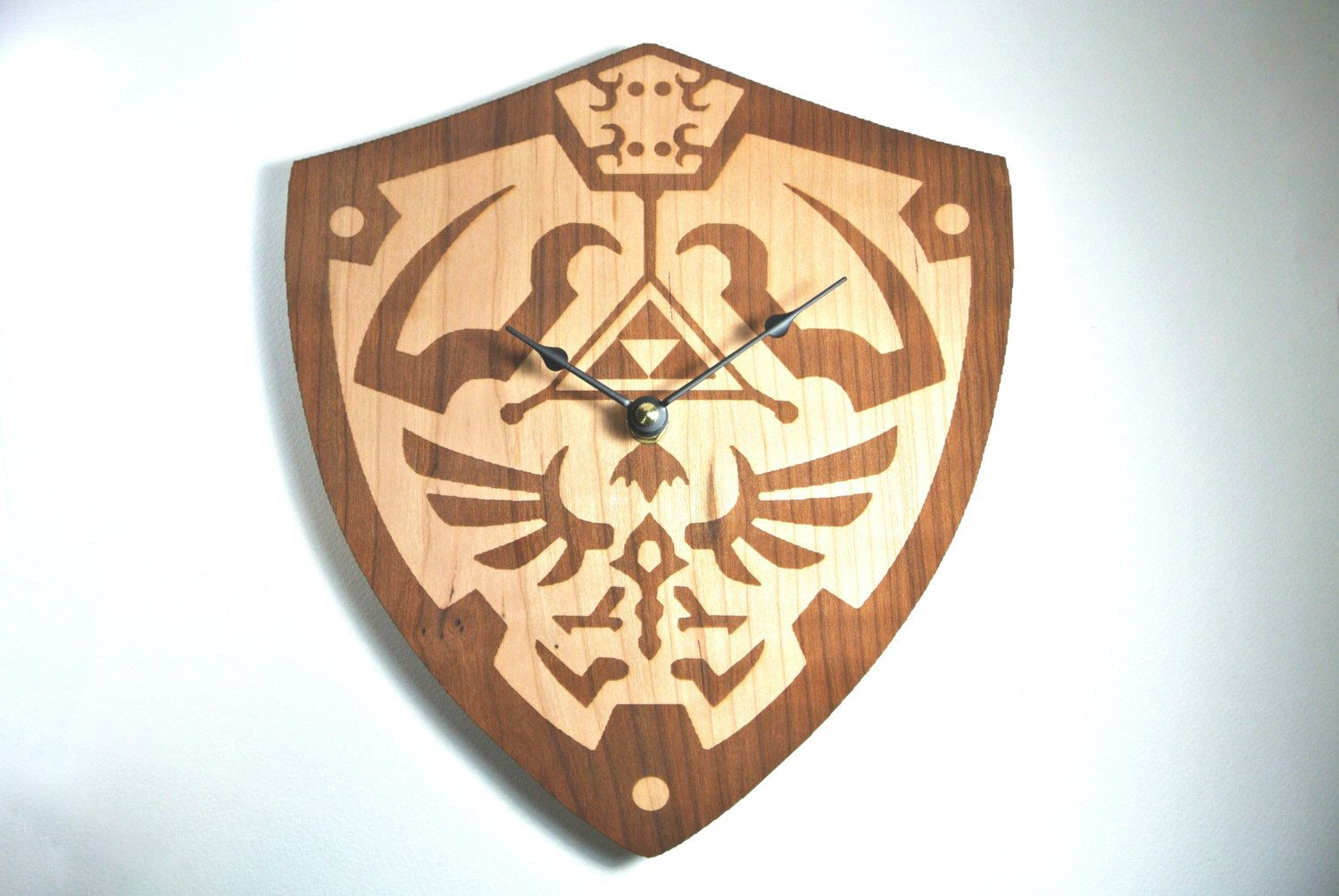 Hylian shield clock wood legend of zelda by talltalelaser on etsy
