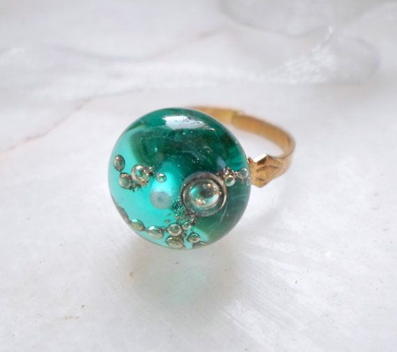 Handmade Jewelry Lampwork Ring Bubbles in Glass by CandanImrak