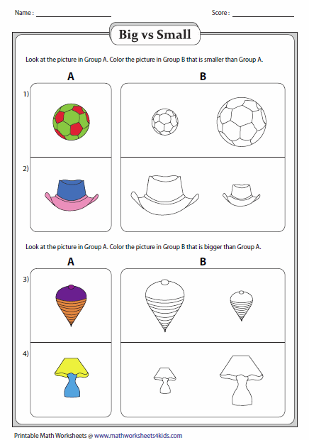 Big And Small Worksheets Preschool Worksheets Color Worksheets Math Coloring Worksheets