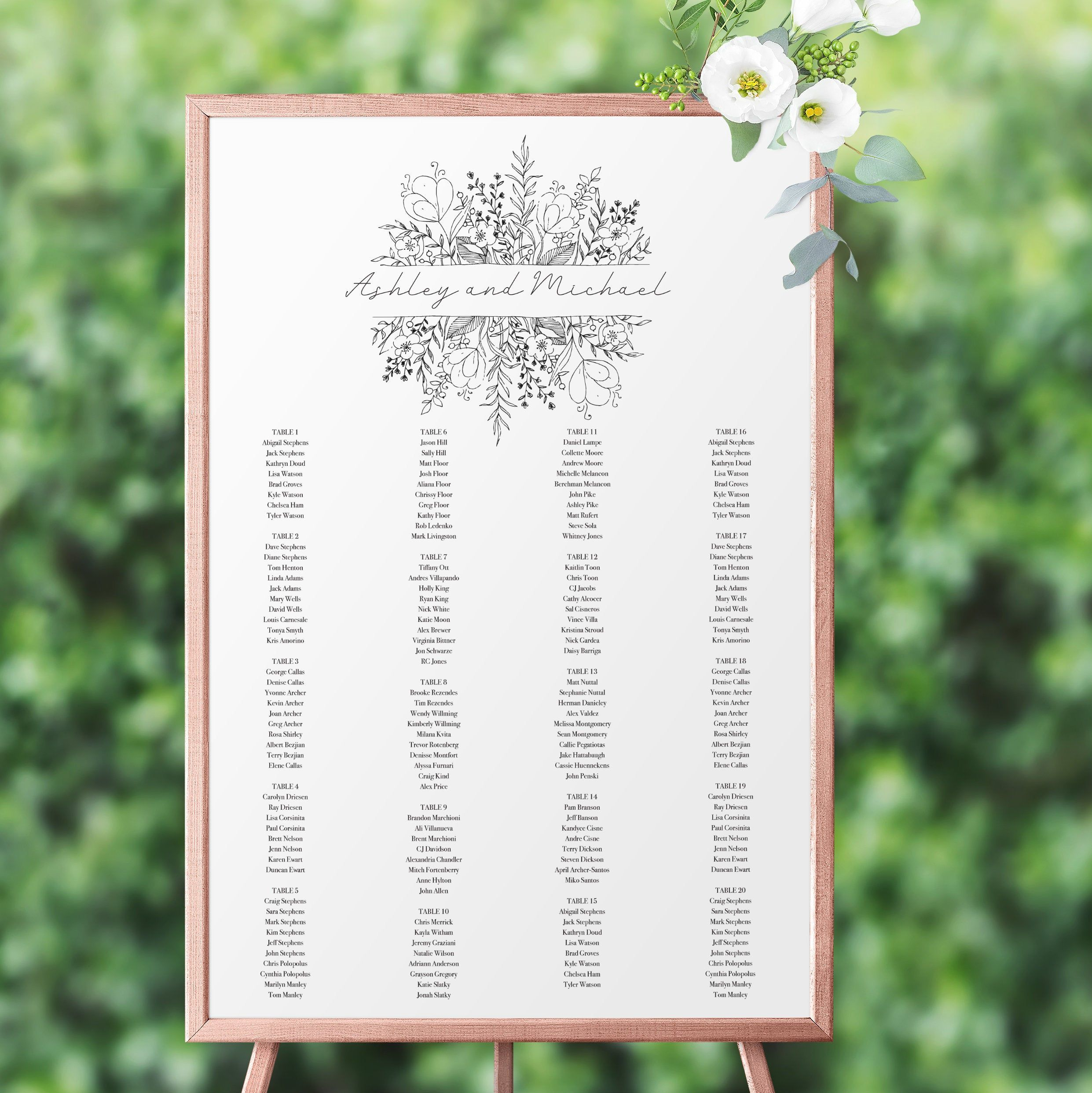 Editable Printable File Seating Chart Template Instant Download WI248 Rustic Trees Wedding Seating Chart
