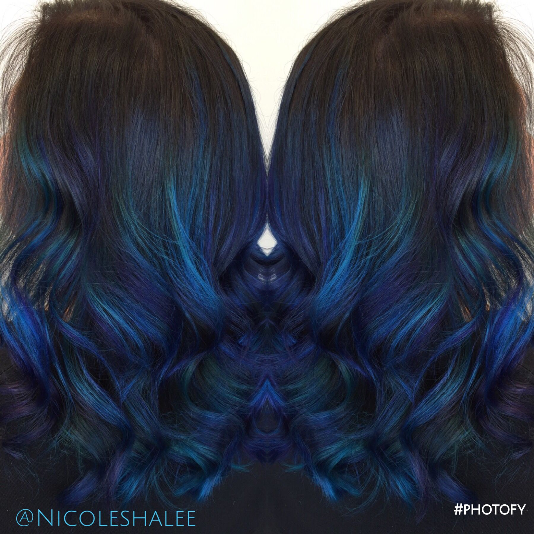 Blue Color Melt Blue Hair Ombre Medium Length Hair Beach Waves