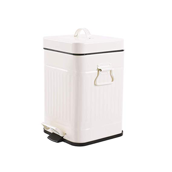 Amazon Com Bathroom Trash Can With Lid Small White Wastebasket For Bedroom With Soft Close Lid Retro Vintage Style Bathroom Trash Can Trash Can Waste Basket