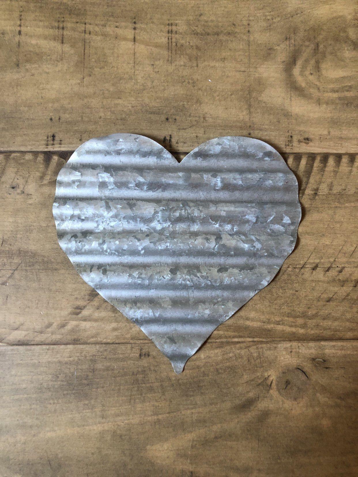 Metal Heart Metal Letter Corrugated Metal Galvanized Letter Rustic Heart Bridal Shower Heart Heart Centerpiece Nursery Bridal Gift Corrugated Metal Metal Letters Metal Heart