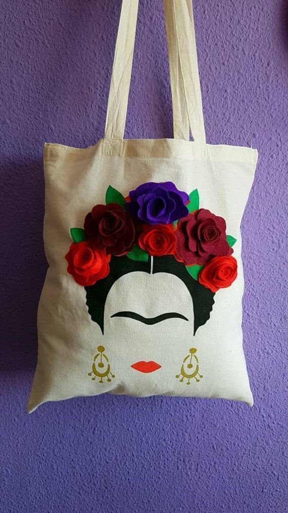 Bolso Frida Khalo. Bolso de mano. Bolsa de la compra. Con flores cosidas a mano. 100% algodón – # …, #bag #C …