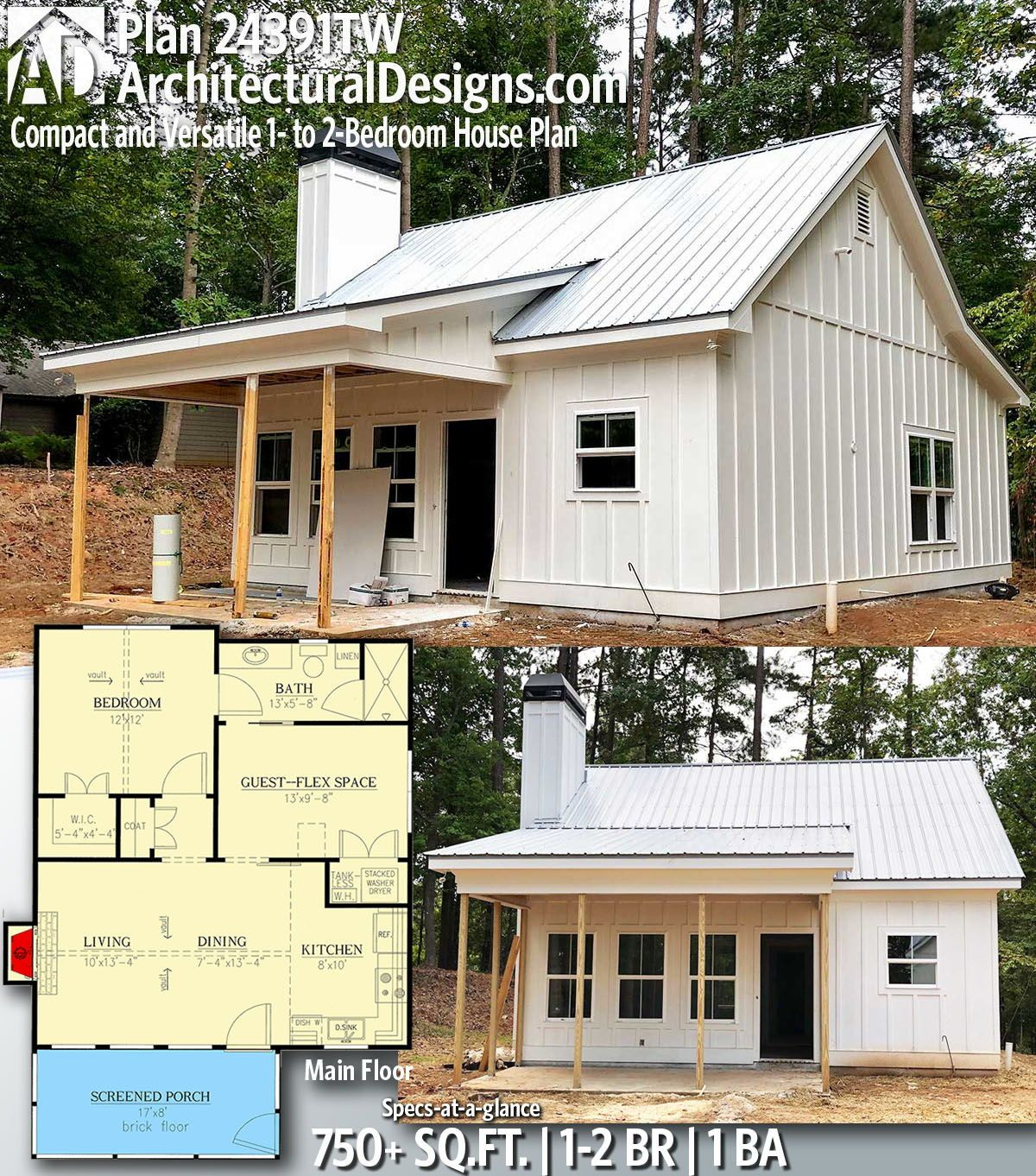 Plan 24391tw Compact And Versatile 1 To 2 Bedroom House Plan Cottage Plan House Plans Tiny House Plan