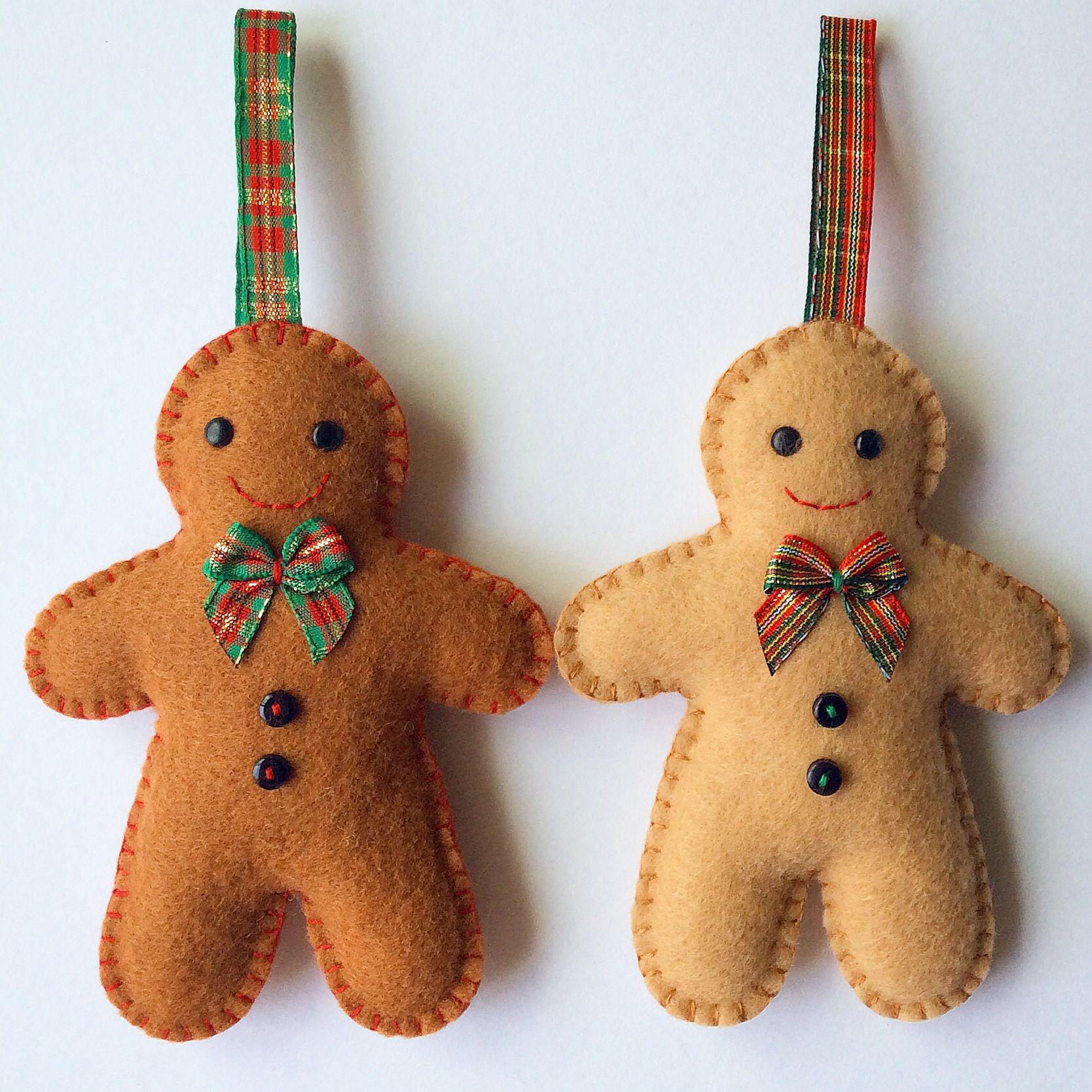 Gingerbread man decorations crafts handmade felt sewjunejones wool felt winter christmas - Decorations for gingerbread man ...