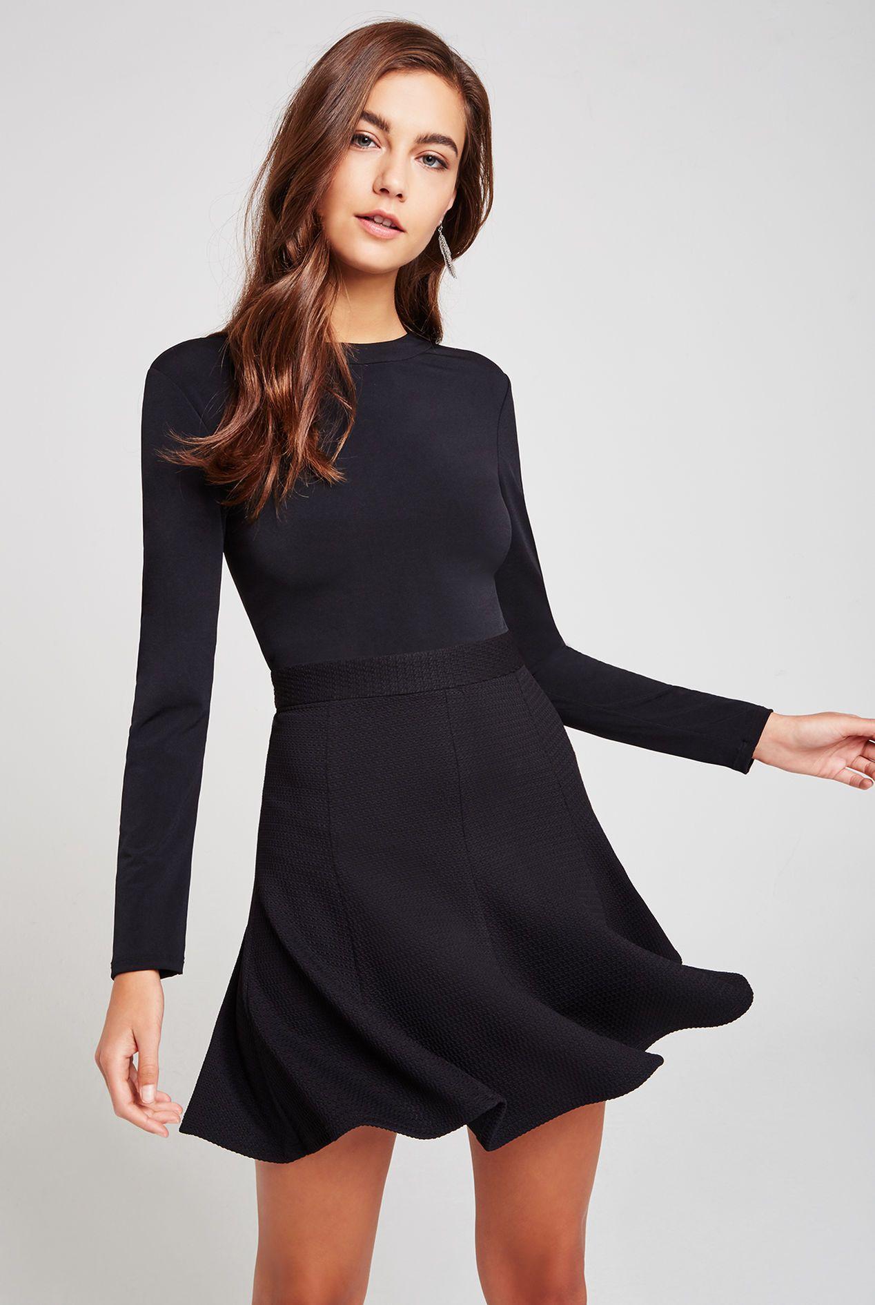 Flare skirt longsleeve dress dresses little black dress