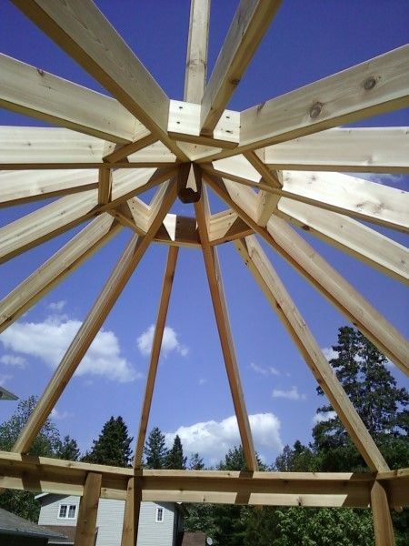 Beginning The Roof Framing For An Octagon Shaped Gazebo We Re Building Gazebo Roof Gazebo Plans Roof Framing