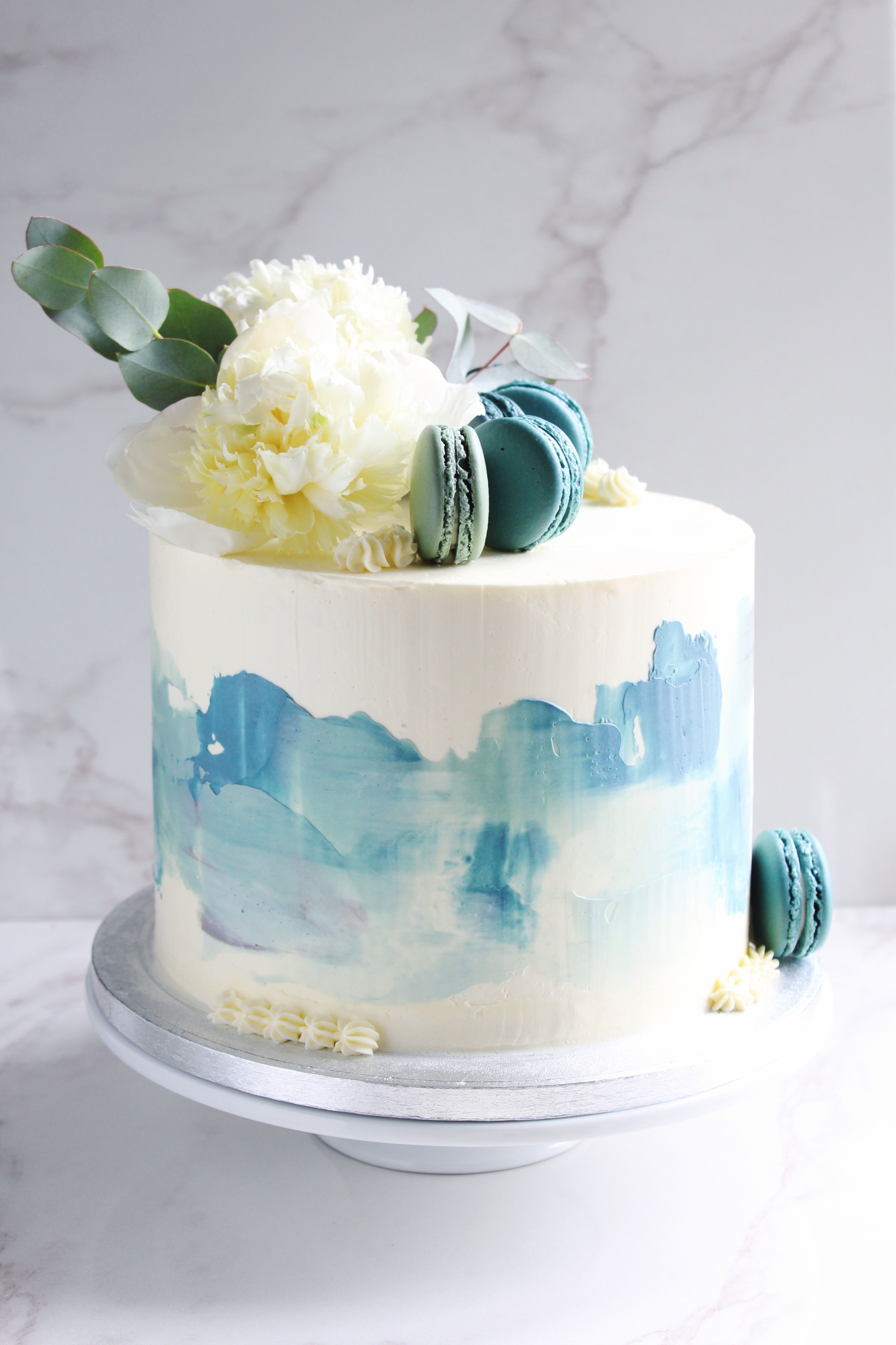 Our Lemon And Coconut Baby Shower Cake With Rustic Blue