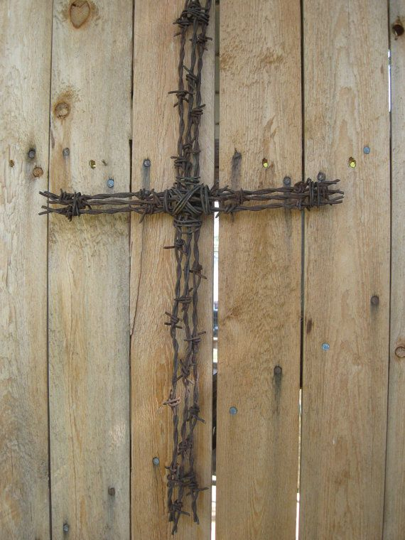 barbed wire cross by jackrabbitflats on Etsy, $21.00 | scrap metal ...