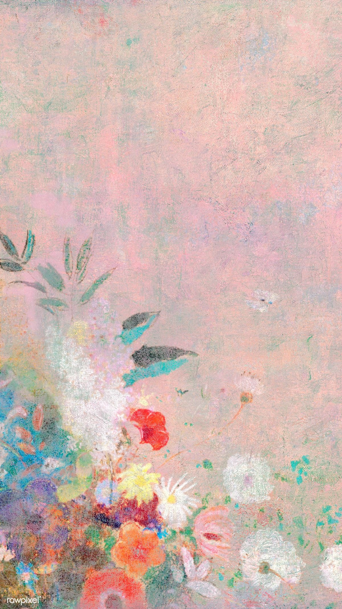 Download premium illustration of Pink floral wall textured background
