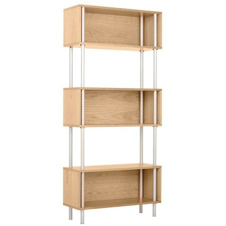 Bring midcentury-inspired appeal to your study or den with this stylish bookcase, showcasing a steel frame and 3 maple-finished tiers.