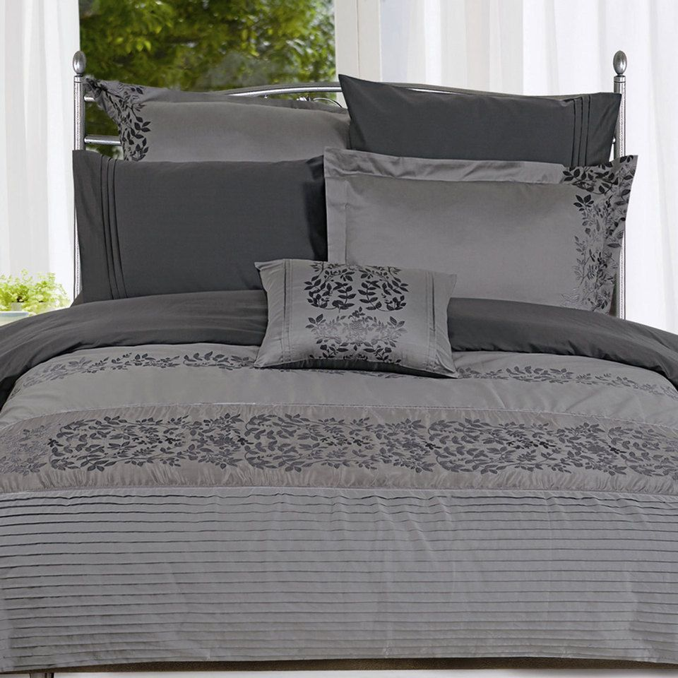 Seasons Collection Seven-Piece Embroidered Duvet Cover Set In ...