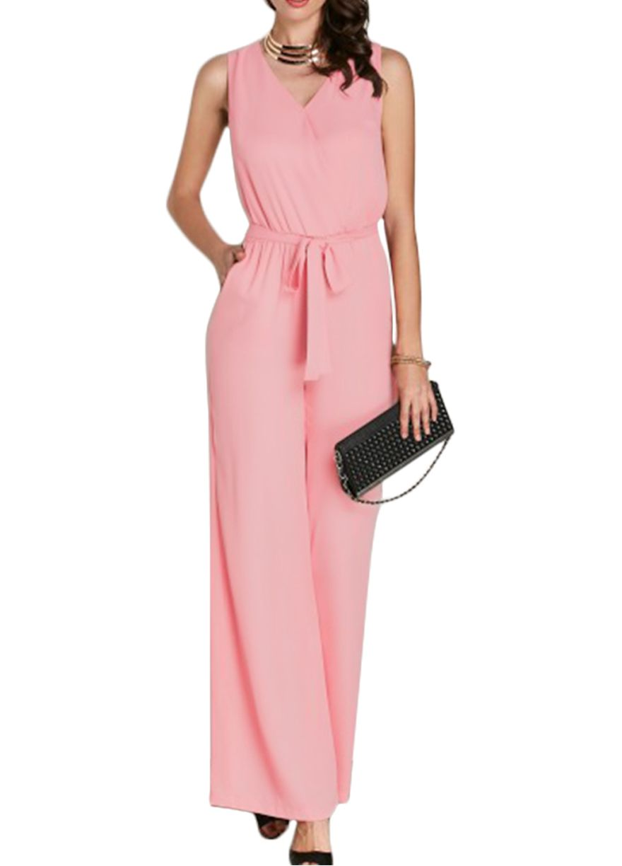 fcfab047794 Hot Pink Sleeveless Belted Jumpsuit With Pockets Jumpsuit   Rompers Women  Clothes Sexy Lingeire