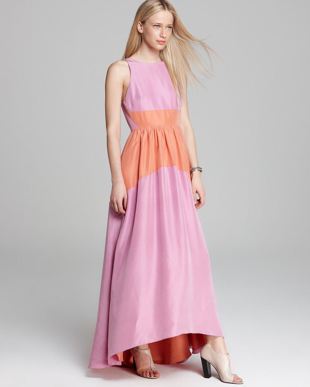 Tibi Long Dress - Color Blocked Silk (Bloomingdale\'s) | Pink & Peach ...