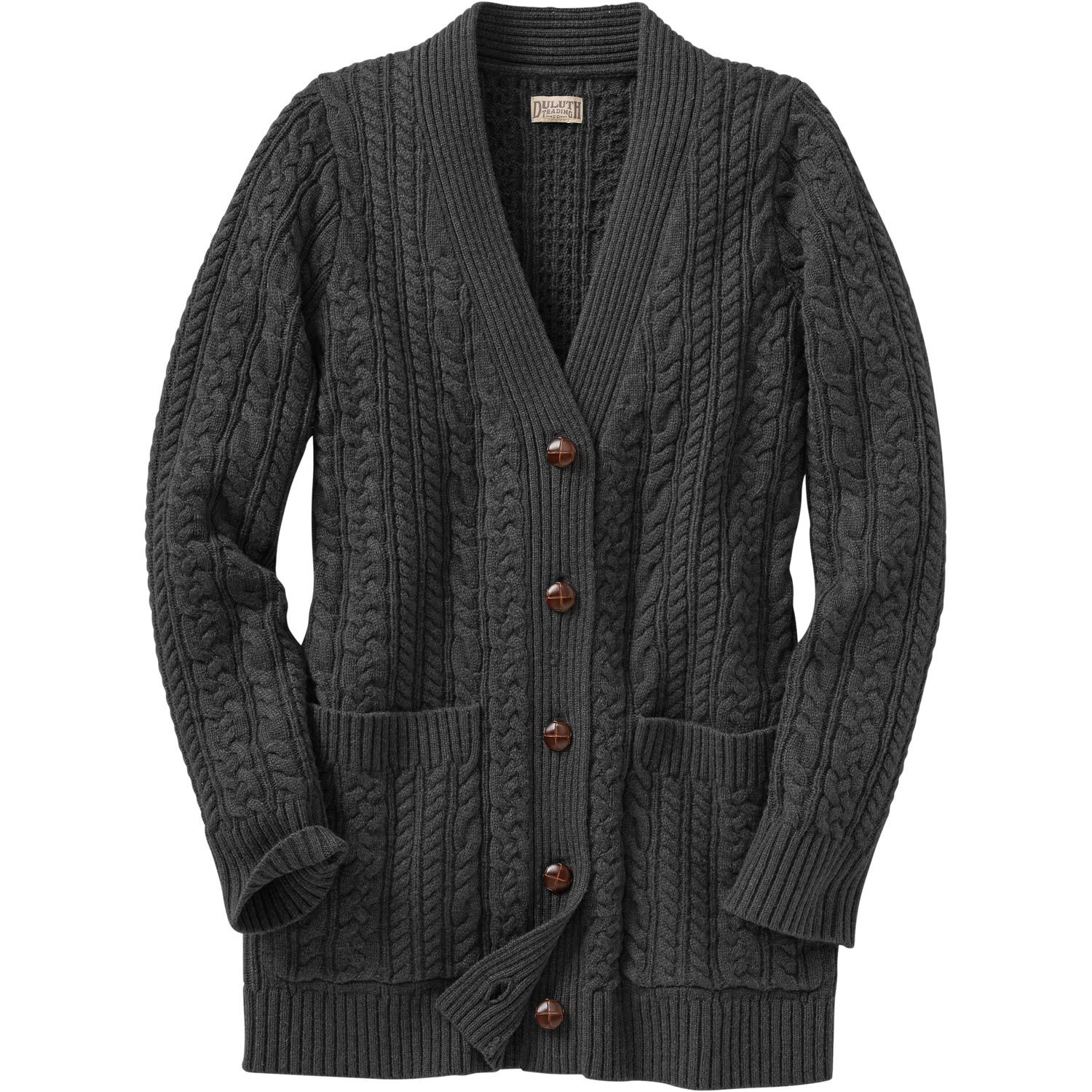 The women's Fisherman Long Cardigan Sweater looks like a classic ...