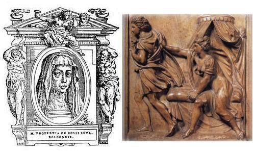 Properzia de' Rossi (c. 1490–1530) was an Italian female Renaissance sculptor. This daughter of a notary studied under the Bolognese artist and master engraver Marcantonio Raimondi, who is best known today for his engravings of the paintings by Raphael.