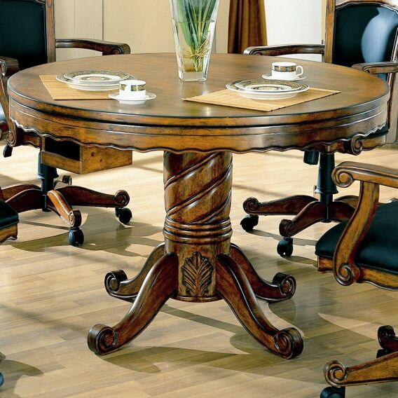High Quality 5 Pc Oak Finish Wood Three In One Game Table , Dining, Poker , Bumper