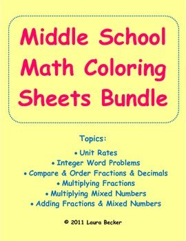 Common Core Middle School Math Coloring Sheets Bundle   Middle ...