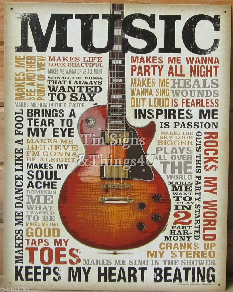 Retro Wall Art music inspires me tin sign metal poster vtg guitar wall art home