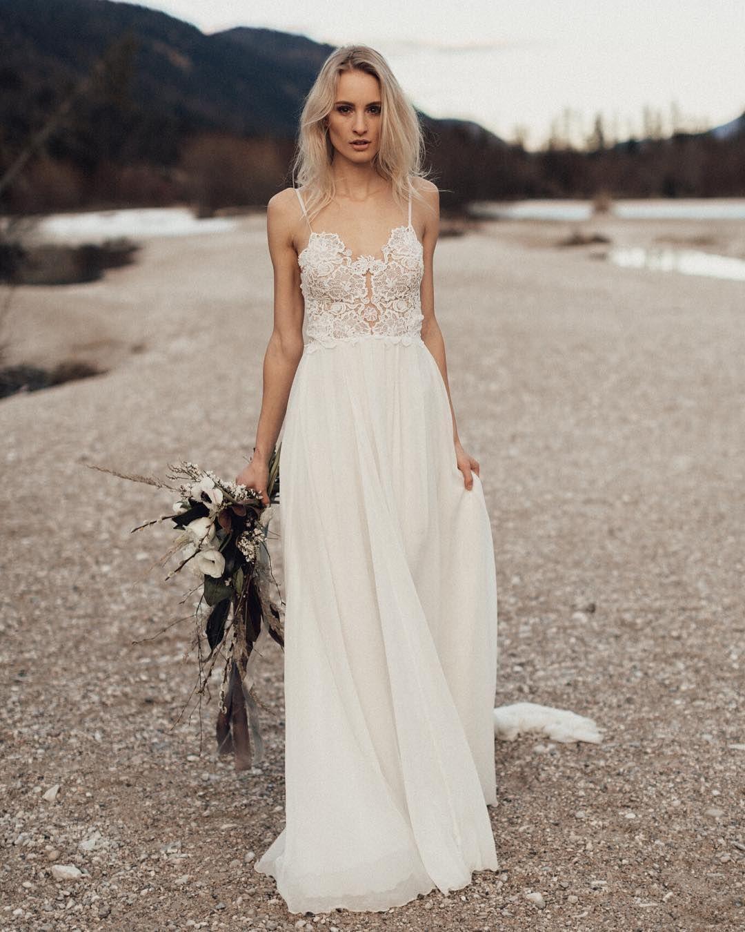 Gorgeous boho bridal style wearing Sarah Seven gown Whitman
