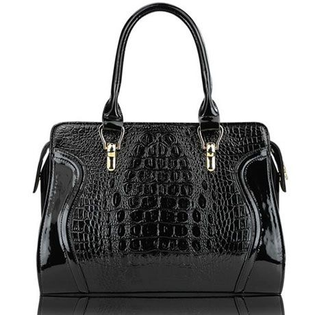 Zipper Faux Croco Print Black PU Satchel Bag
