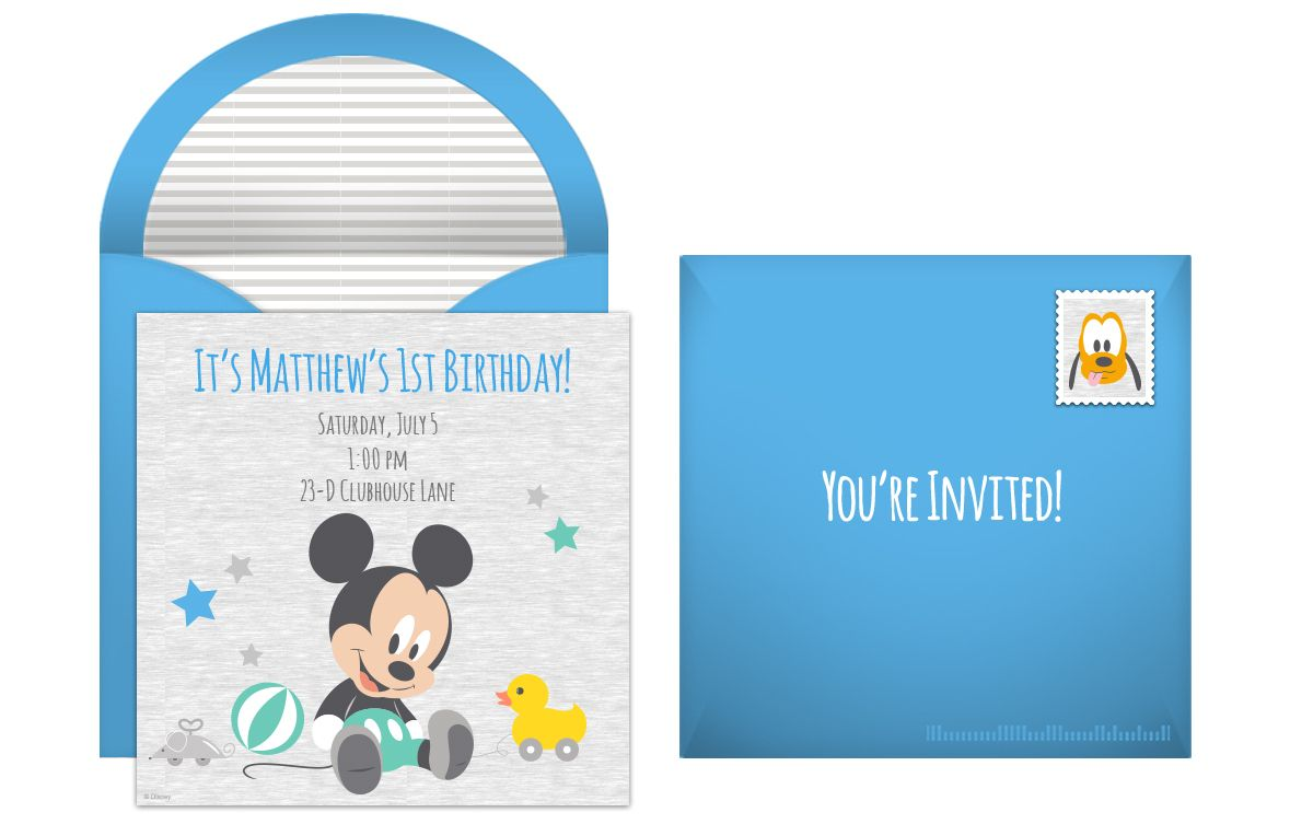 Mickey Mouse 1st Birthday Online Invitation