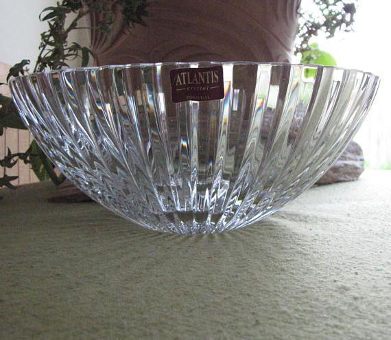 Atlantis Crystal Bowl Fantasy Pattern Cut Glass Made In Portugal