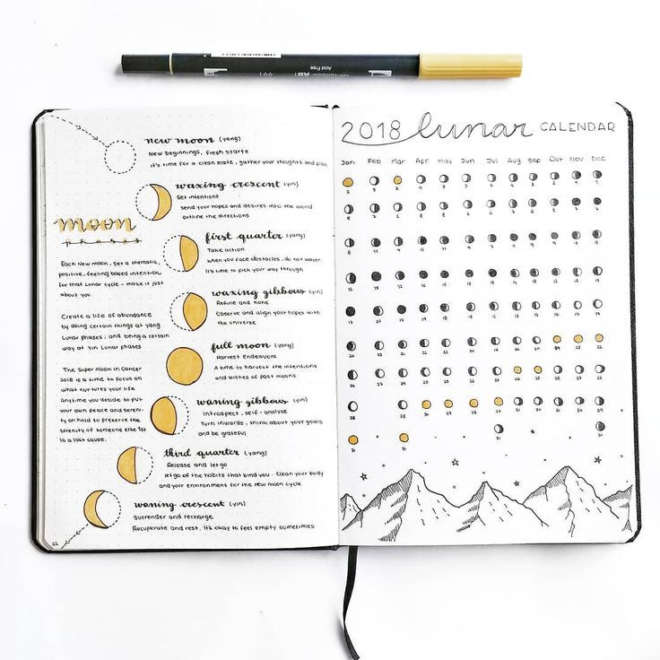 """rosana • bullet journal on Instagram: """"This is how my spread dedicated to the moon phases looks like � today is january 17th, the first new moon of the year and it's time for a…"""""""