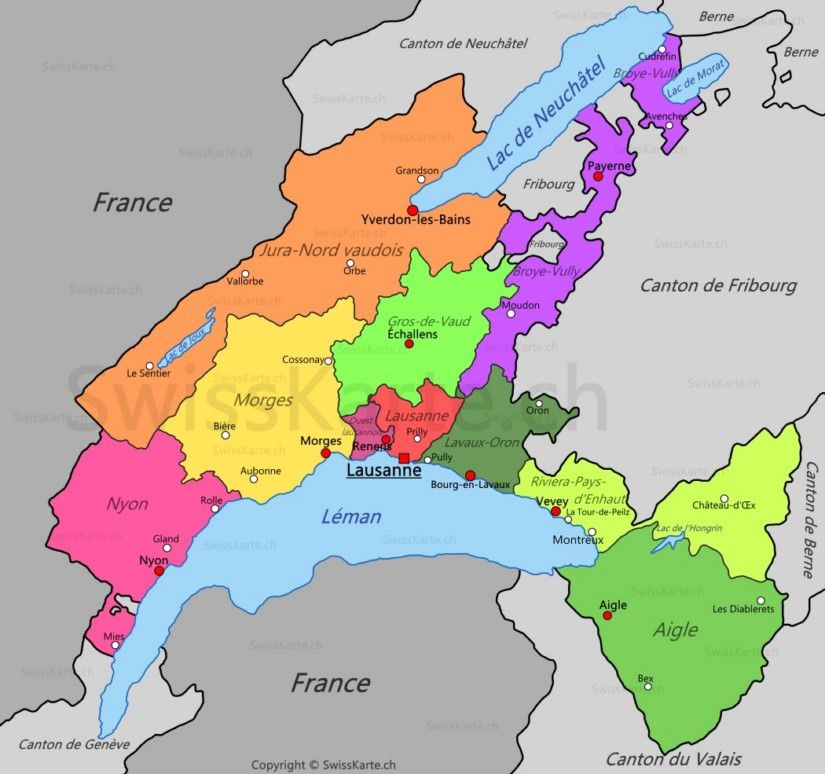 Carte du canton de Vaud CH Pinterest