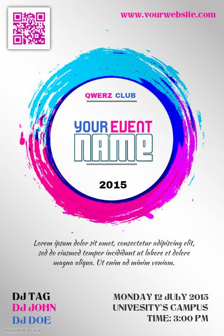 Colorful event promotion poster template http://www.postermywall ...
