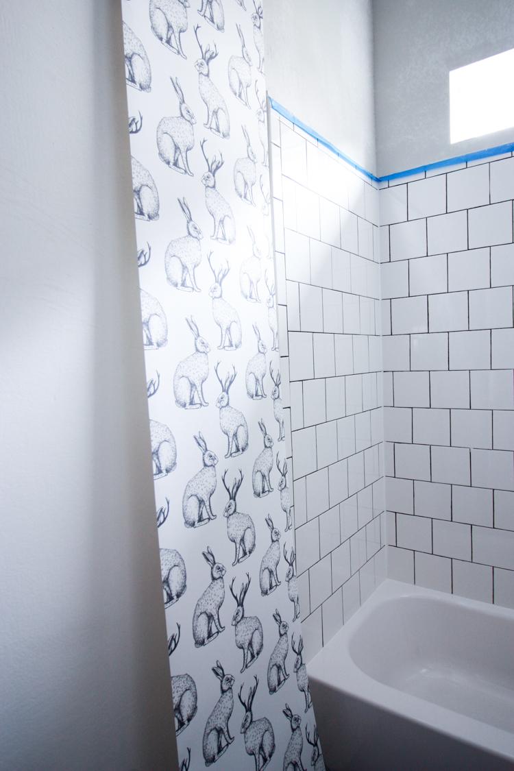 Jackalope Wallpaper Bathroom Diy Smooth Textured Walls Textured Walls Bathroom Inspiration Peel And Stick Wallpaper
