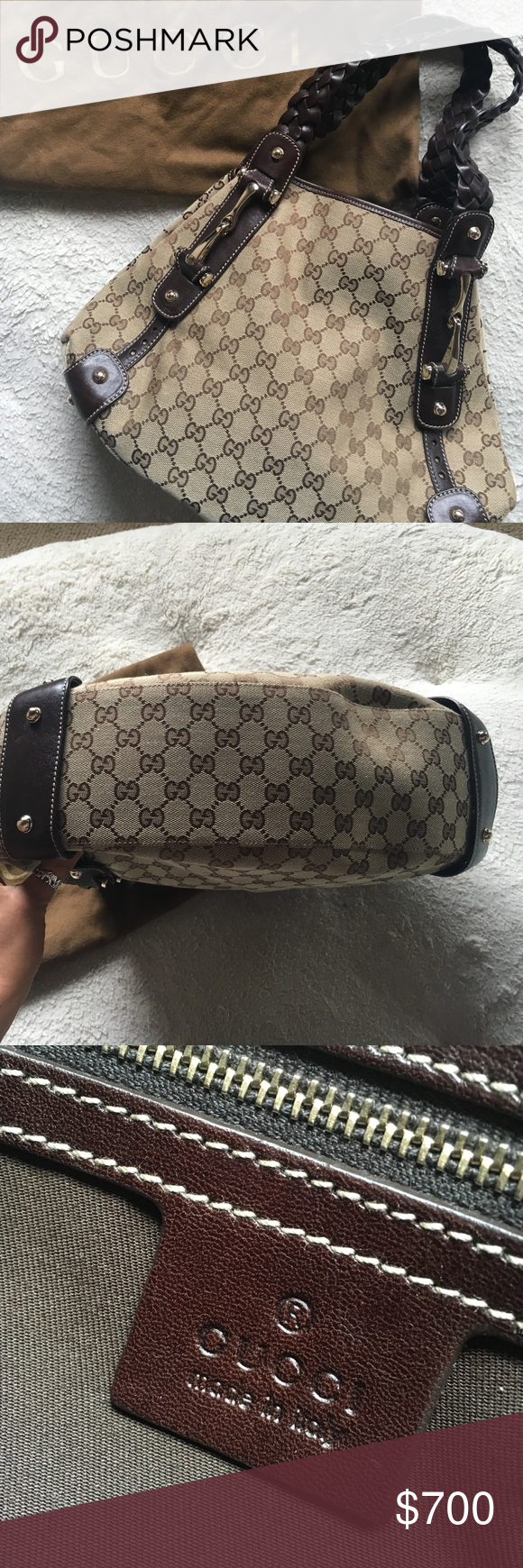 Never worn-Gucci Monogram Pelham 100% authentic 🛍 Brand new Gucci Pelham bag with braided leather straps. Has no fading anywhere. Leather is still plush. Has a tiny scratch mark on the bag that was there when purchased. 18 inches in length from braid to bottom of the bag. 15 inch across. I have kept this in mint condition but never worn as it was a gift from ex bf purchased at Gucci store. No receipts but comes with dust bag and poshmark can authenticate it. Feel free to ask any questions…