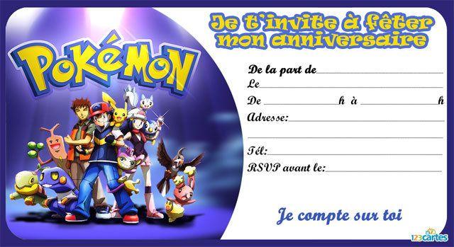 carte invitation anniversaire pokemon tous ensemble | Cartes invitation anniversaire enfant, Invitation