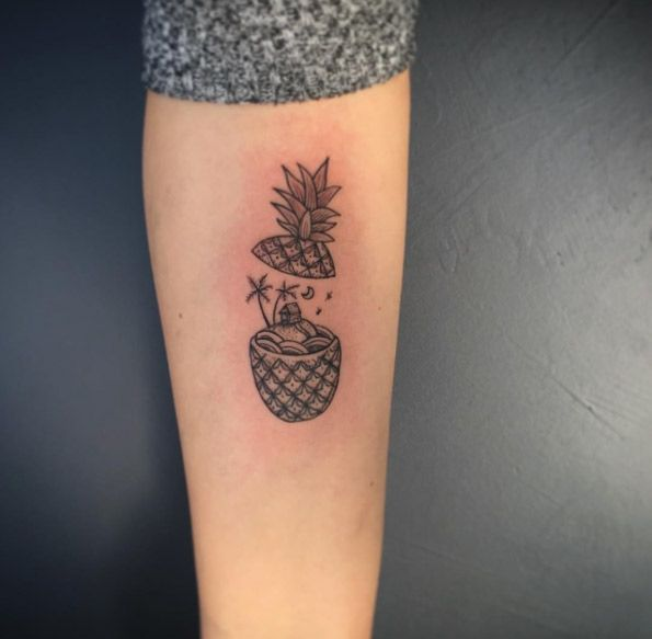 Adorable Pineapple Tattoo Design By Yasin