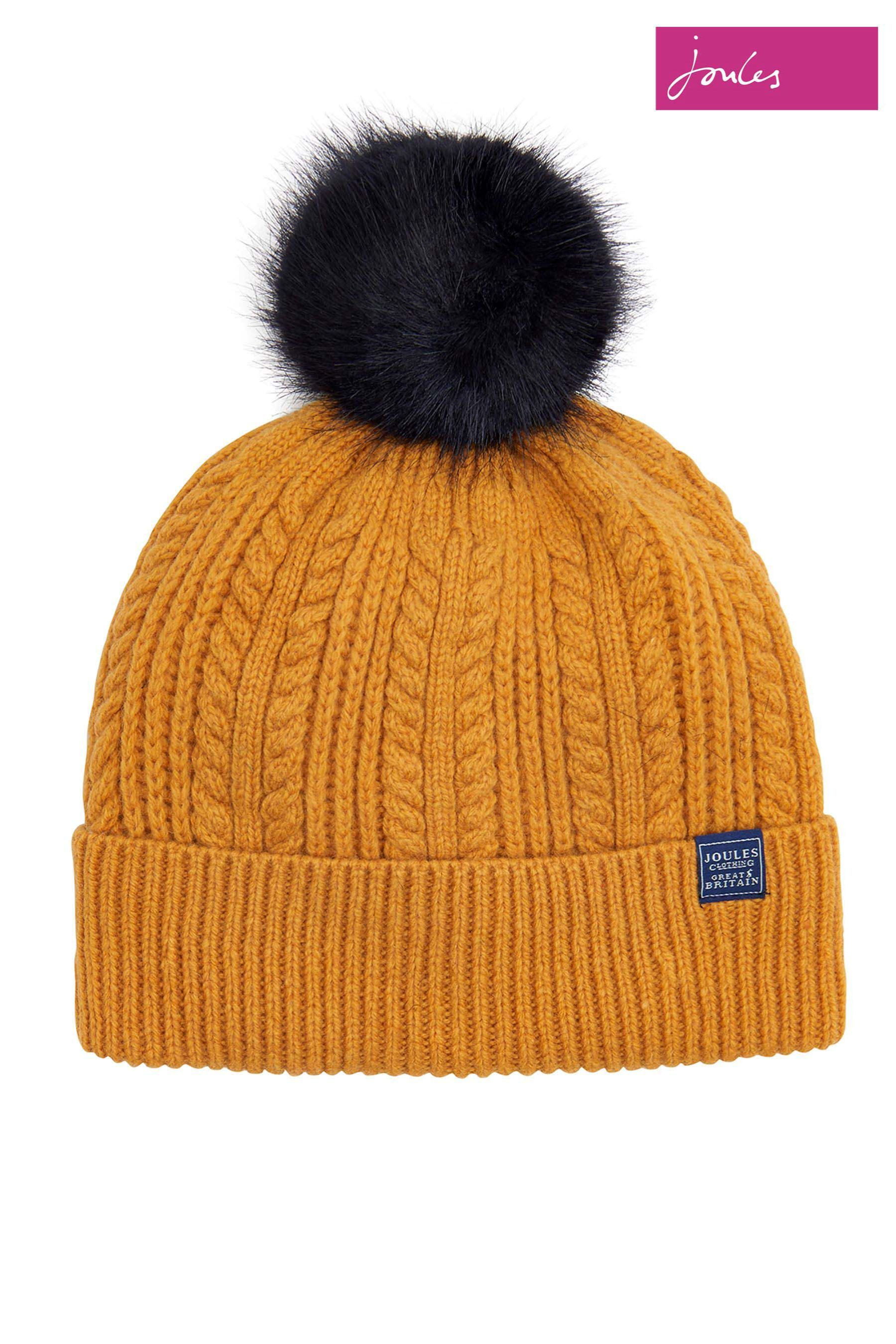 ef9bb1a5263 Womens Joules Gold Fine Cable Hat With Faux Fur Pom - Gold ...