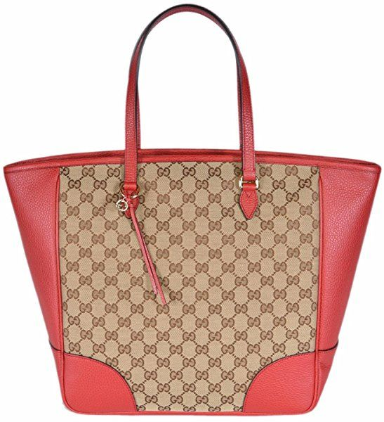 75a6083ee81 Gucci Women s 449242 Large Bree GG Guccissima Purse Handbag Tote (Beige Red)