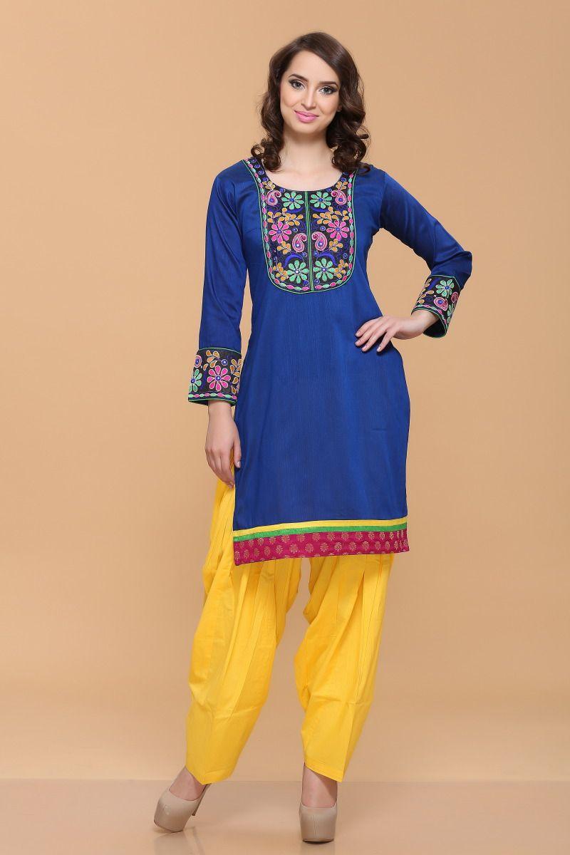 Blue silky cotton slub kurti pricerm andaaz fashion new