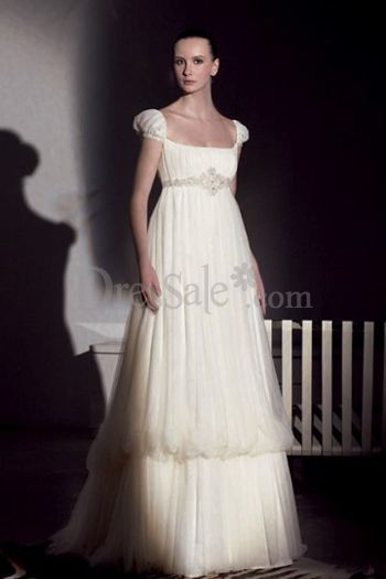 e538a87e5d9eb Slim Scoop Neckline And Juliet Sleeves A Line Wedding Dress With Empire  Waist And Two Layers Skirt