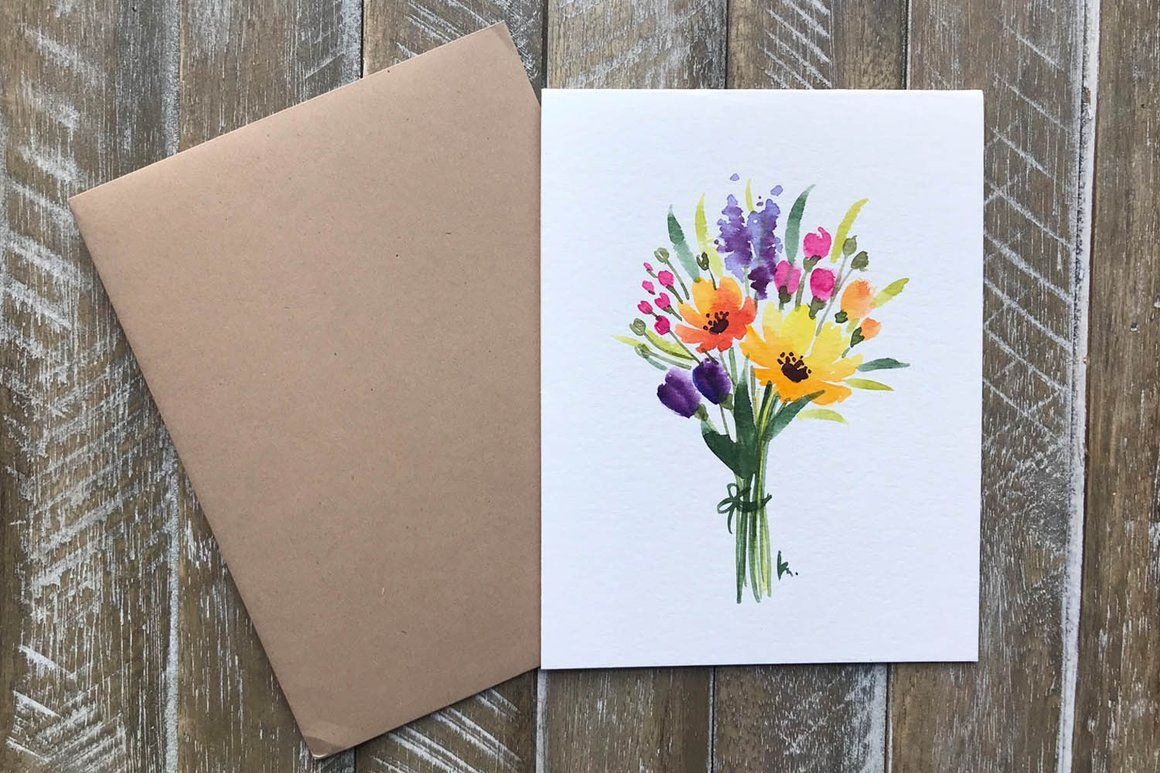 Hand Painted Greeting Cards With Flowers Watercolor Greeting