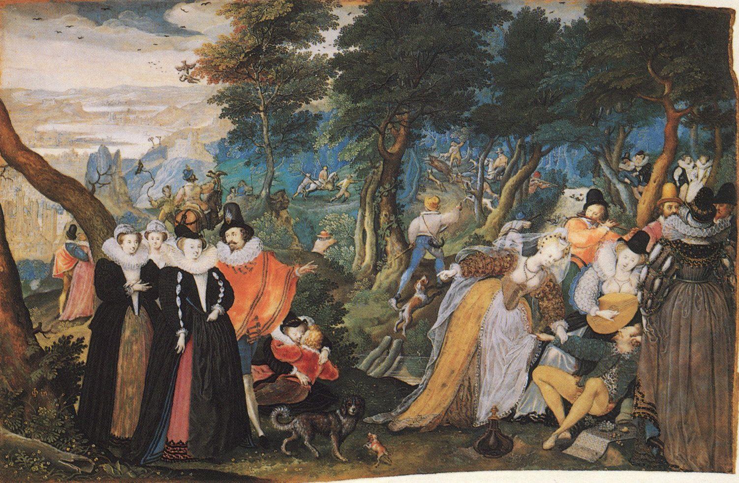 Slightly ridiculous allegorical scene containing shepherds