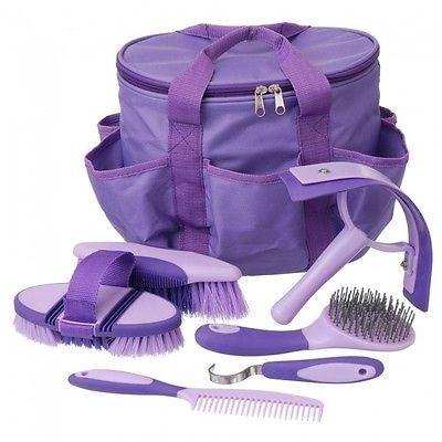 7 PC Horse Grooming Kit Tote Bag Brushes Pick Curry Comb Scraper Purple Sale!