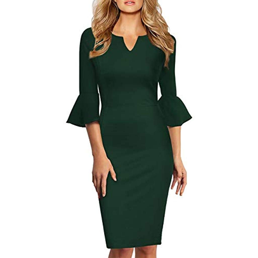 KOJOOIN Damen Etuikleid Business Kleider Bodycon Cocktailkleid