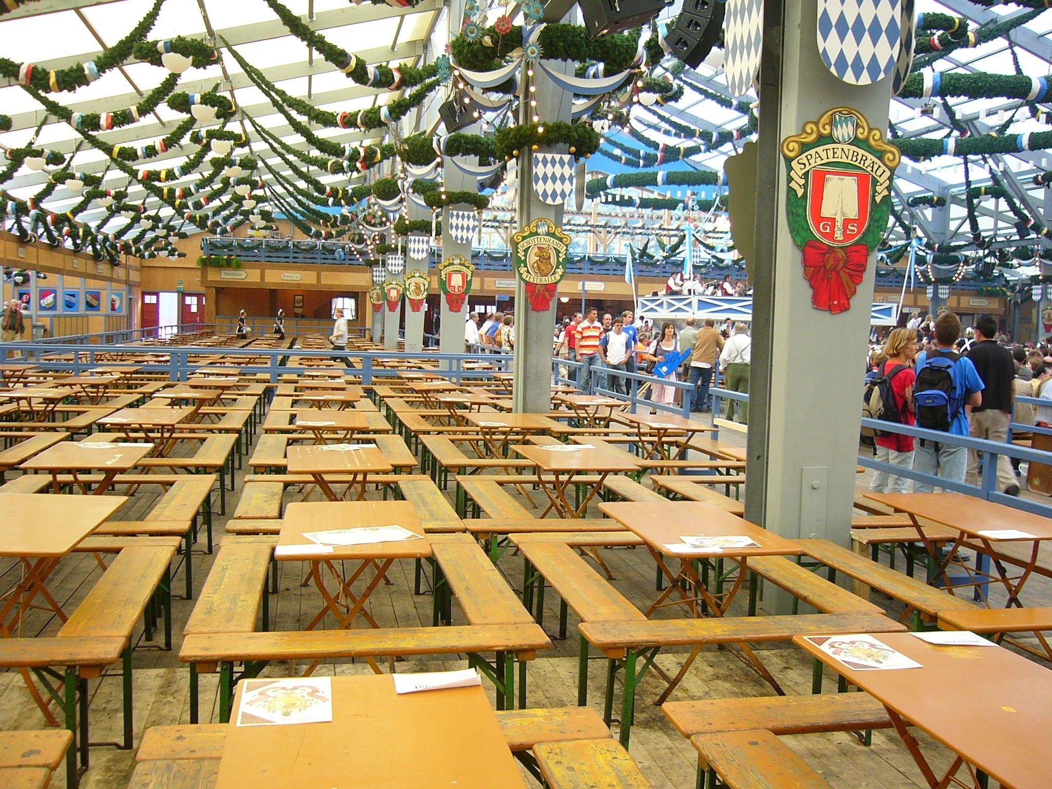 Schottenhamel tent beer logos and checkered banner on tent pole & Schottenhamel tent beer logos and checkered banner on tent pole ...