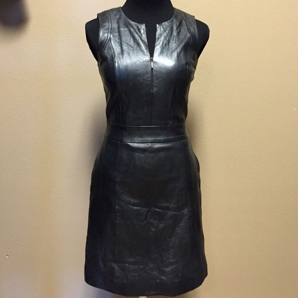 Armani Exchange Leather Mini Dress Dark Grey 100% Lamb Leather Dress. Back Zipper closure, 1/4 zip front. Side pockets. Polyester lining. Like new condition, worn once. A/X Armani Exchange Dresses Mini