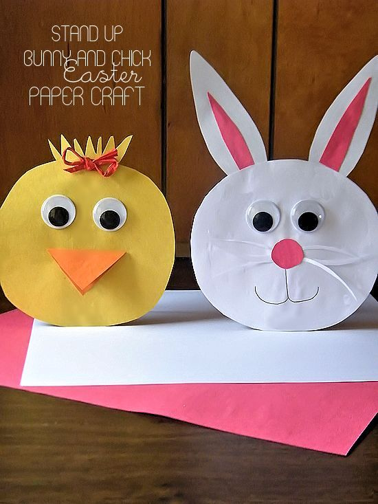 Stand Up Bunny And Chick Easter Paper Craft Crafts Diy At Our
