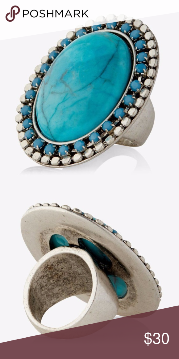 ab2726446677 Large Turquoise Cocktail Ring Cute oversized cocktail ring from Express.  Brand new! Stone and jewels measure approx. 1 3 4 inch long and 1 3 8 inch  wide.