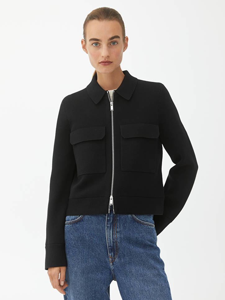 Merino Boxy Jacket Black Knitwear Arket Ww In 2020 Black Knitwear How To Iron Clothes Knit Structure