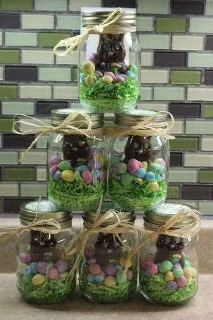 What a great idea for easter giftsd easy too by angela these will be my easter gifts mason jar easter chocolate gift filled with eggs chicks a chocolate bunny can put colored krispie treats in bottom or use negle Images